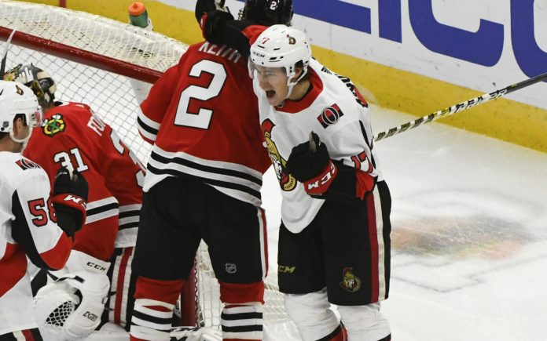Max McCormick scores his lone NHL goal. Credit: Matt Marton, USA TODAY Sports.
