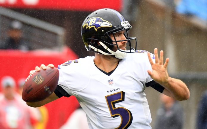 Joe Flacco. Credit: Christopher Hanewinckel, USA TODAY Sports.