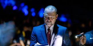 Denver Nuggets head coach Michael Malone before the game against the Boston Celtics at Pepsi Center.