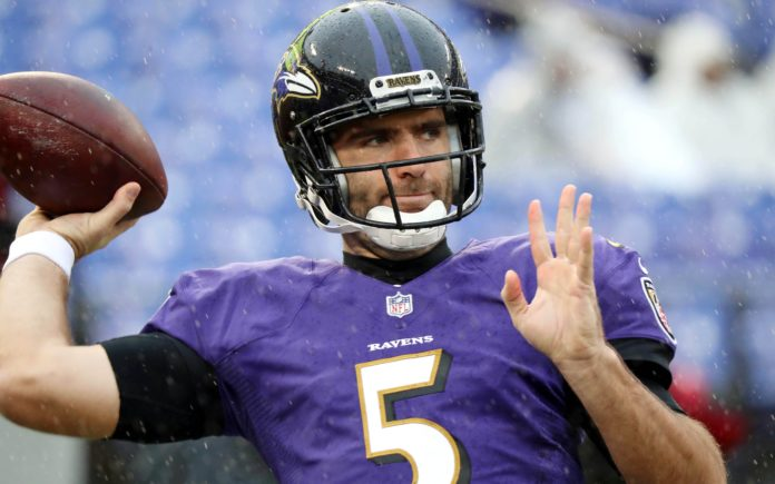 Joe Flacco. Credit: Mike Stringer, USA TODAY Sports.