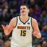 Denver Nuggets center Nikola Jokic (15) celebrates after a play during the fourth quarter against the Sacramento Kings at Golden 1 Center.