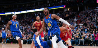 Denver Nuggets guard Malik Beasley (25) reacts after a play in the second quarter against the Houston Rockets at the Pepsi Center.