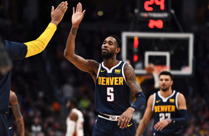 Denver Nuggets guard Will Barton (5) during the second half against the Miami Heat at the Pepsi Center.