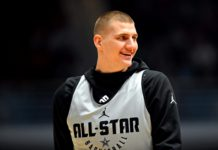 Team Giannis center Nikola Jokic of the Denver Nuggets (15) during NBA All-Star Game practice at the Bojangles Coliseum.