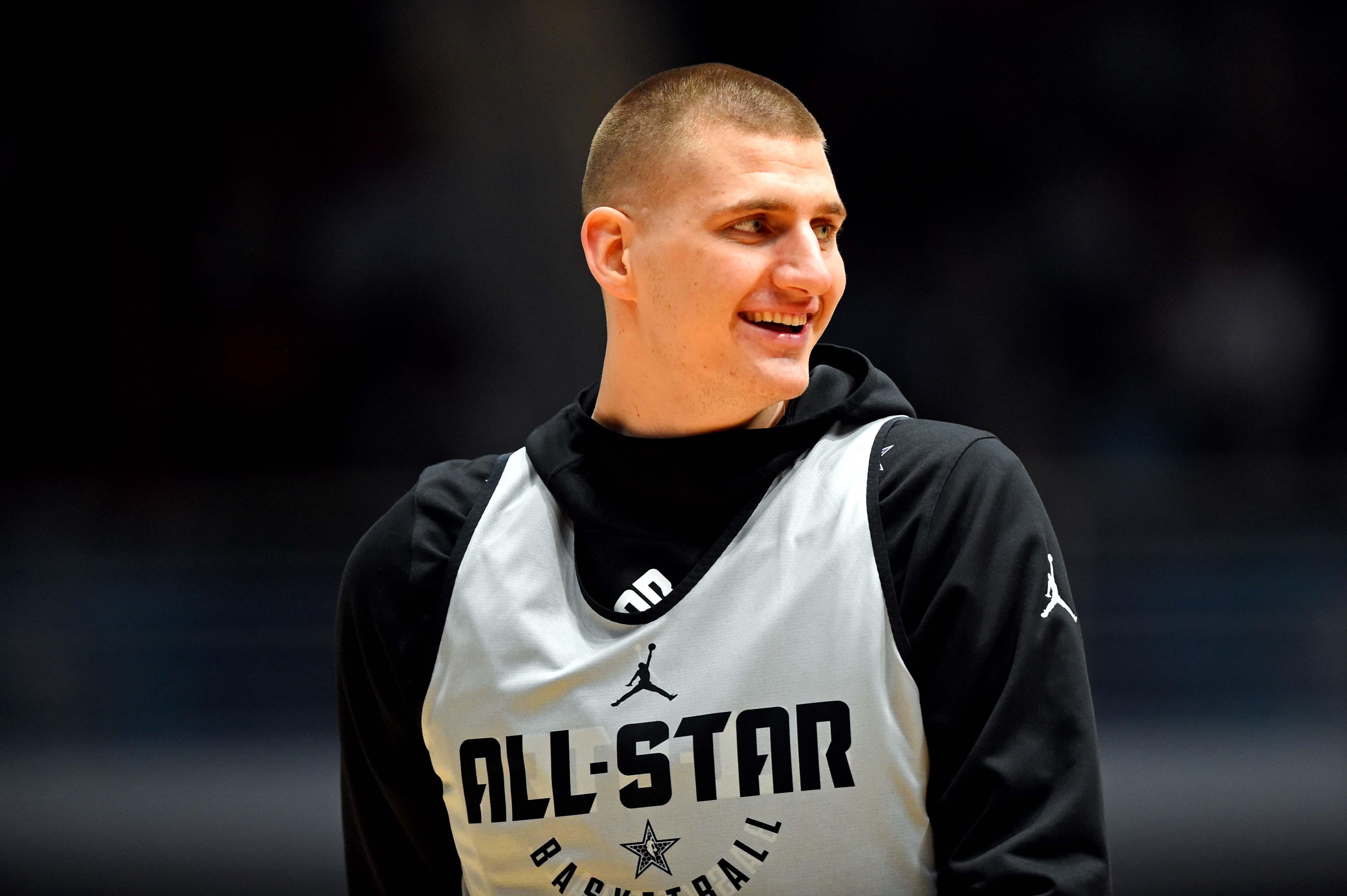 Team Giannis center Nikola Jokic of the Denver Nuggets (15) during NBA All-Star Game practice at the Bojangles Coliseum.