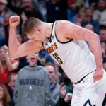 Denver Nuggets center Nikola Jokic (15) reacts after a play in the second quarter against the Oklahoma City Thunder at the Pepsi Center.