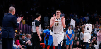 Denver Nuggets center Nikola Jokic (15) reacts as he comes off the court in the fourth quarter against the Oklahoma City Thunder at the Pepsi Center.