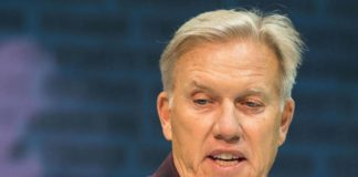 John Elway at the NFL Combine. Credit: Trevor Ruszkowski, USA TODAY Sports.