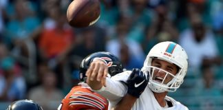 Callahan hits Brock Osweiler as he throws. Credit: Steve Mitchell, USA TODAY Sports.