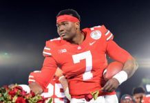 Ohio State Buckeyes quarterback Dwayne Haskins (7) celebrates on the podium after the Ohio State Buckeyes defeated the Washington Huskies in the 2019 Rose Bowl at Rose Bowl Stadium.