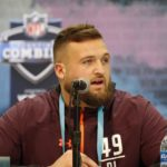 Kansas State offensive lineman Dalton Risner (OL49) speaks to the media during the 2019 NFL Combine at the Indianapolis Convention Center.