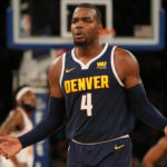 Denver Nuggets power forward Paul Millsap (4) reacts after receiving a technical foul during the fourth quarter against the New York Knicks at Madison Square Garden.