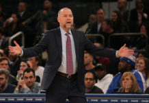 Denver Nuggets head coach Michael Malone reacts to a technical foul against Denver Nuggets power forward Paul Millsap (not pictured) during the fourth quarter against the New York Knicks at Madison Square Garden.