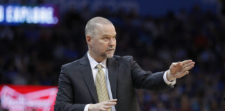 Denver Nuggets head coach Michael Malone coaches his team against the Oklahoma City Thunder during the first half at Chesapeake Energy Arena.