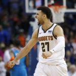 Denver Nuggets guard Jamal Murray (27) celebrates during the end of the second half against Oklahoma City Thunder at Chesapeake Energy Arena. Denver won 115-105.