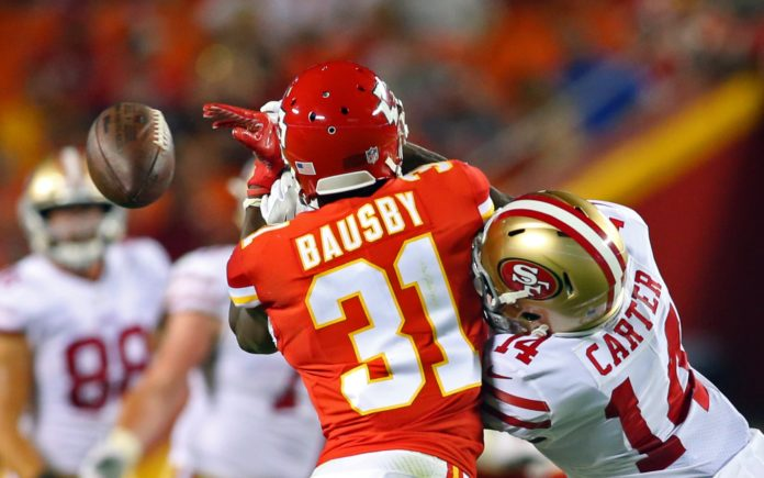 De'Vante Bausby in 2017 with the Chiefs. Credit: Jay Biggerstaff, USA TODAY Sports.