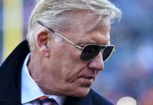 John Elway. Credit: Ron Chenoy, USA TODAY Sports.