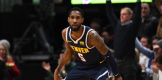 Denver Nuggets guard Will Barton (5) celebrates his three point basket in the third quarter against the Miami Heat at the Pepsi Center.