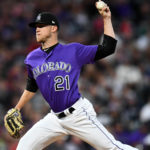 Colorado Rockies starting pitcher Kyle Freeland (21) delivers a pitch in the third inning against the Atlanta Braves at Coors Field.