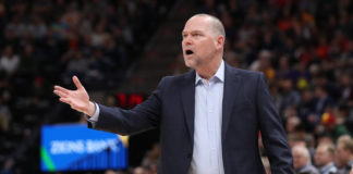 Denver Nuggets head coach Michael Malone reacts from the sidelines during the first quarter against the Utah Jazz at Vivint Smart Home Arena.