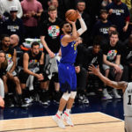 Denver Nuggets guard Jamal Murray (27) shoots over San Antonio Spurs center LaMarcus Aldridge (12) in the second half in the first round of the 2019 NBA Playoffs at Pepsi Center.