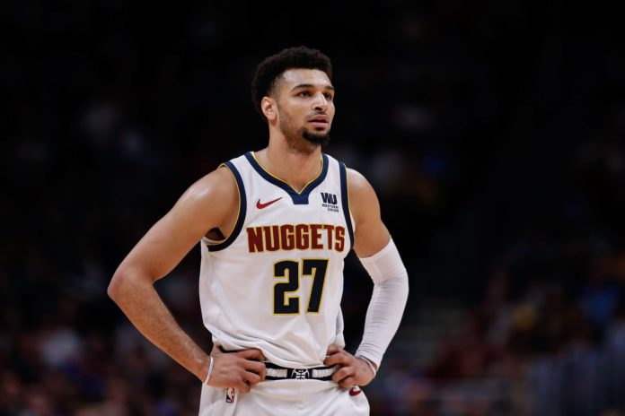 Denver Nuggets guard Jamal Murray (27) in the second quarter against the San Antonio Spurs in game two of the first round of the 2019 NBA Playoffs at the Pepsi Center.
