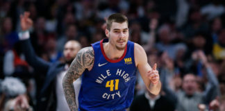 Denver Nuggets forward Juancho Hernangomez (41) motions after a play in the third quarter against the Oklahoma City Thunder at the Pepsi Center.