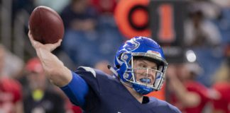 Brett Rypien in the East-West Shrine Game. Credit: Douglas DeFelice, USA TODAY Sports.