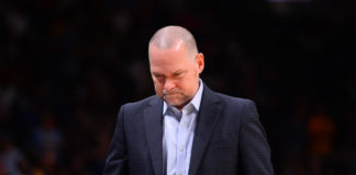 Denver Nuggets head coach Michael Malone reacts in the fourth quarter against the Detroit Pistons at the Pepsi Center.