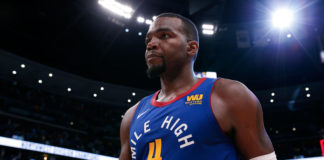 Denver Nuggets forward Paul Millsap (4) after the game against the Portland Trail Blazers at the Pepsi Center.