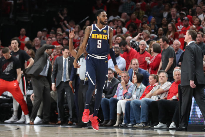 Denver Nuggets guard Will Barton (5) reacts after scoring against the Portland Trail Blazers in the second half of game four of the second round of the 2019 NBA Playoffs at Moda Center.