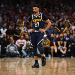 Denver Nuggets guard Jamal Murray (27) reacts during the second half against the Portland Trail Blazers in the second round of the 2019 NBA Playoffs at Pepsi Center.