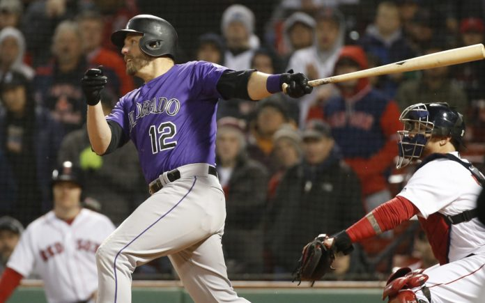 Mark Reynolds' game-winning hit against the Red Sox in the 11th inning. Credit: Greg M. Cooper, USA TODAY Sports.