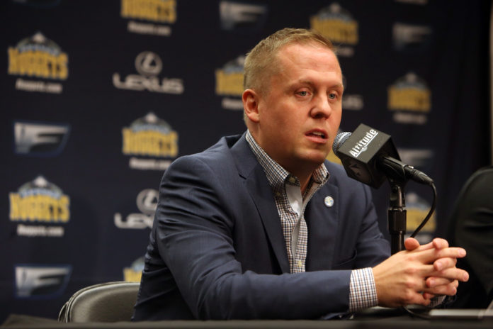 Denver Nuggets general manager Tim Connelly answers questions during a press conference during the media day at Pepsi Center.