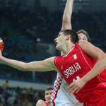 Serbia center Nikola Jokic (14) shoots the ball against Croatia during the men's basketball quarterfinals in the Rio 2016 Summer Olympic Games at Carioca Arena 1.