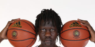 McDonalds High School All American center Bol Bol (1) poses for photos on portrait day at the Omni Hotel.
