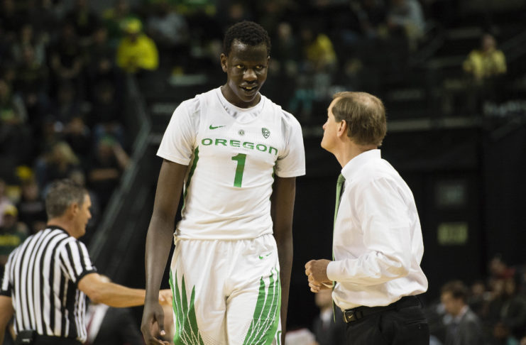Oregon Ducks center Bol Bol (1) walks off the court after getting called for a technical foul during the second half against Eastern Washington Eagles at Matthew Knight Arena. The Ducks beat the Eagles 81-47.