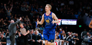 Denver Nuggets center Thomas Welsh (45) reacts after scoring in the fourth quarter against the Orlando Magic at the Pepsi Center.