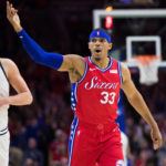 Philadelphia 76ers forward Tobias Harris (33) celebrates after scoring during the first quarter against the Denver Nuggets at Wells Fargo Center.