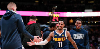 Denver Nuggets guard Monte Morris (11) reacts in the fourth quarter against the Sacramento Kings at the Pepsi Center.