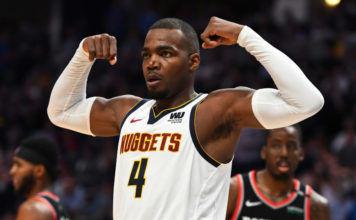 Denver Nuggets forward Paul Millsap (4) reacts following a basket and foul in the third quarter against the Portland Trail Blazers in game five of the second round of the 2019 NBA Playoffs at Pepsi Center.