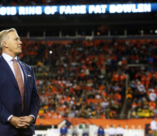 Denver Broncos general manager John Elway during a ceremony inducting owner Pat Bowlen (not pictured) into the Broncos Ring of Fame during halftime between the Denver Broncos and the Green Bay Packers at Sports Authority Field at Mile High. The Broncos won 29-10.