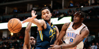 Denver Nuggets forward Trey Lyles (7) and guard Will Barton (5) defend against Oklahoma City Thunder forward Jerami Grant (9) in the fourth quarter at the Pepsi Center.