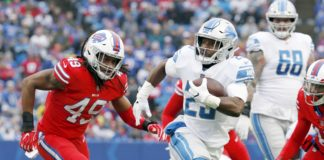Theo Riddick runs away from a defender. Credit: Timothy T. Ludwig, USA TODAY Sports.