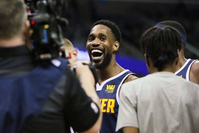 Denver Nuggets guard Will Barton (5) celebrates after making a three point shot late in the fourth quarter against the Memphis Grizzlies at FedExForum. Denver won 95-92.