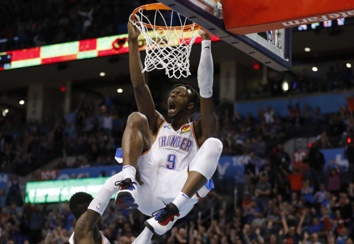 Oklahoma City Thunder forward Jerami Grant (9) celebrates after dunking against the Detroit Pistons during the second half at Chesapeake Energy Arena. Oklahoma City won 123-110