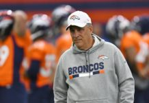 Vic Fangio at Broncos first training camp practice of the 2019 season.