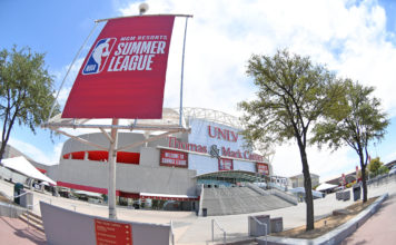 A general view outside of Thomas & Mack Center is pictured before the start of an NBA Summer League and the Los Angeles Lakers and the Golden State Warriors.