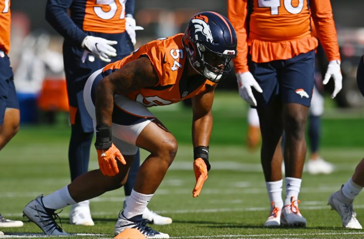 Josh Watson in Broncos training camp. Credit: Ron Chenoy, USA TODAY Sports.