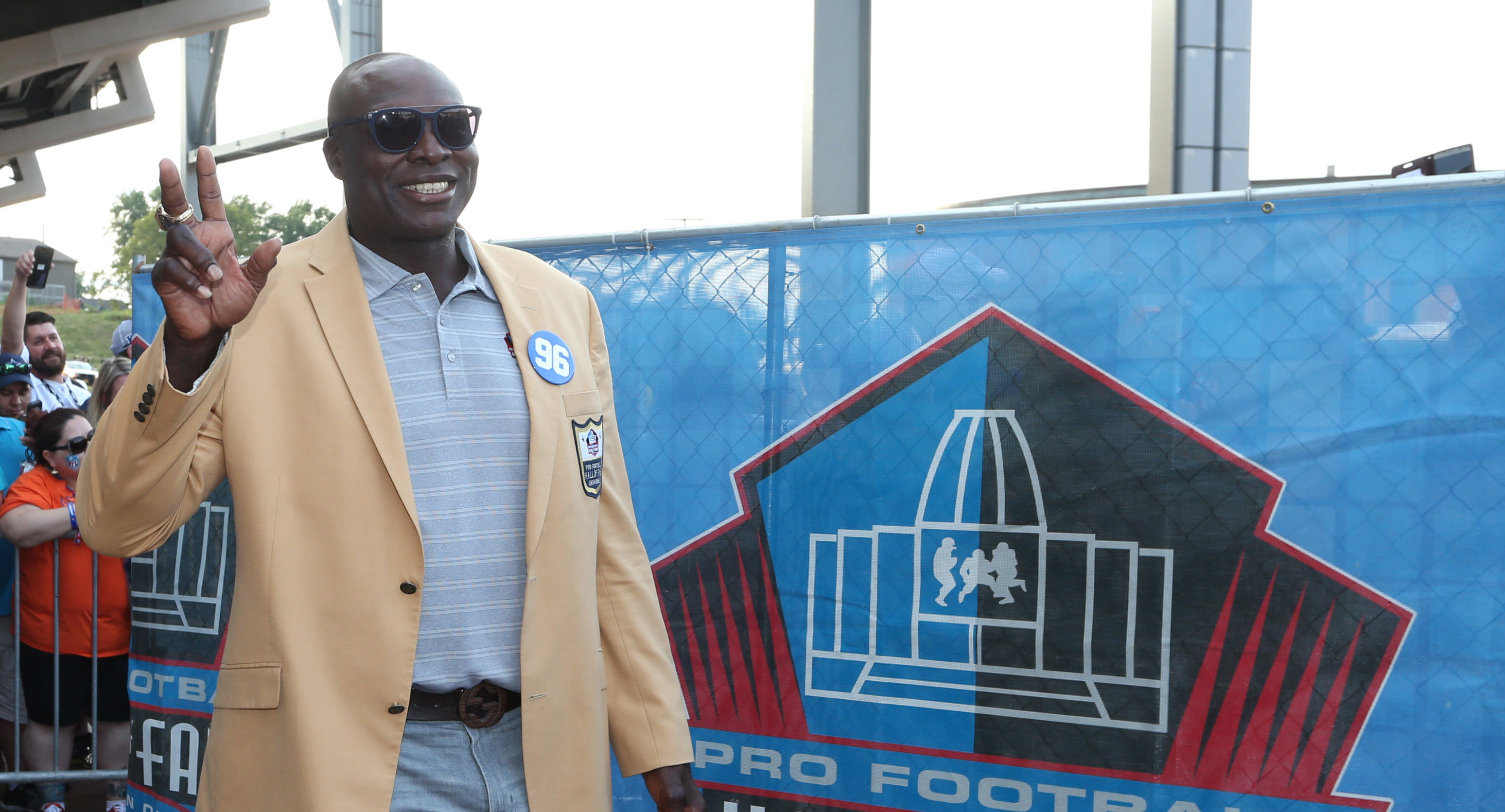 Buffalo Bills defensive end Bruce Smith arrives during the Professional Football HOF enshrinement ceremonies at the Tom Benson Hall of Fame Stadium.